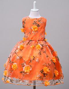billige Pigekjoler-Pigens Kjole Weekend I-byen-tøj Blomstret, Polyester Sommer Uden ærmer Blomster Orange Lys pink