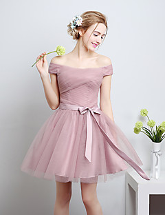cheap Romance Blush-A-Line Off-the-shoulder Knee Length Satin Tulle Bridesmaid Dress with Bow by QQC Bridal