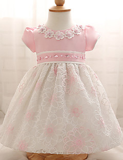 billige Babykjoler-Baby Pigens Kjole Fest Blomstret, Polyester Sommer Kortærmet Blomster Pænt tøj Lys pink Lyseblå