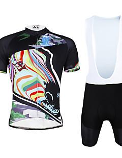 billiga Cykling-ILPALADINO Herr Kortärmad Cykeltröja med Haklapp-shorts - Svart Cykel Bib Shorts / Tröja / Klädesset, Andningsfunktion, 3D Tablett, Snabb tork, UV-Resistent, Reflexremsa Lycra Mellan / Elastisk