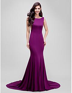 Τρομπέτα / Γοργόνα Bateau Neck Ουρά μέτριου μήκους Ζέρσεϊ Επίσημο Βραδινό Φόρεμα με Πλισέ με TS Couture®
