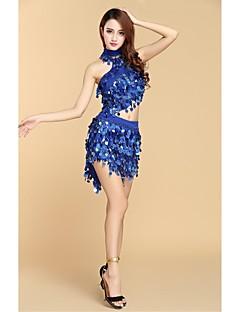 baratos Roupas de Dança Latina-Dança de Salão Jóias Mulheres Espetáculo Fibra de Leite Lantejoulas Sem Manga Alto Blusa / Saia