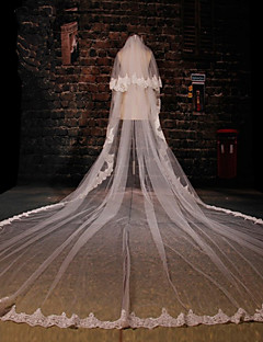 Two-tier Lace Applique Edge Wedding Veil Cathedral Veils With Applique Pattern Lace Tulle
