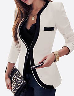 Women's Casual/Daily Vintage Sophisticated Spring Fall Blazer,Color Block Round Neck Long Sleeve Regular Rayon Polyester