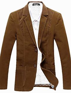 billige Herremote og klær-Bomull Store størrelser Lapper Tynn Blazer - Fargeblokk Herre