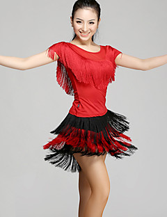 Latin Dance Outfits Women's Performance Chinlon Tassel(s) 2 Pieces  Latin Dance Short Sleeve Natural Top / Skirt