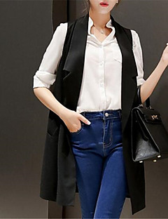 Χαμηλού Κόστους Classic Vests-Γυναικεία Κανονικό Veste Καθημερινά Κομψό στυλ street Καλοκαίρι Στάμπα Πολυεστέρας