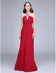 Bridesmaid Dress 2017 Lanting Bride® Floor-length Chiffon - Spaghetti Straps with Criss Cross
