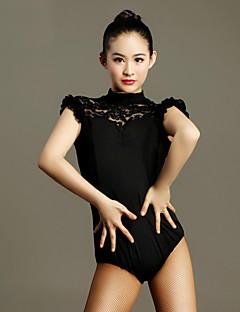 tanie Stroje do tańca latino-Taniec latynoamerykański Leotards Damskie Wydajność Koronka Wiskoza Koronka Z krótkim rękawem Naturalny Trykot opinający ciało / Śpiochy