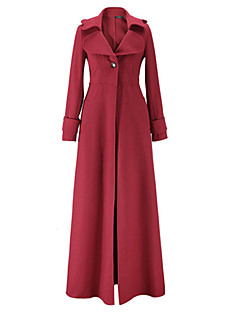 Women's Work Chic & Modern Fall/Autumn Trench coat,Solid Color V-neck Long Sleeves Maxi Polyester