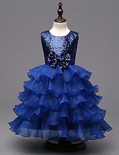 Mädchen Kleid Ausgehen einfarbig Polyester Sommer Ärmellos