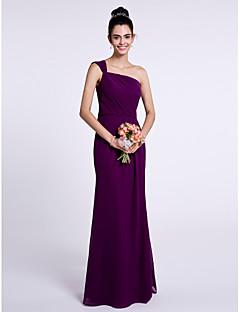 tanie Fioletowa pasja-Syrena Na jedno ramię Sięgająca podłoża Szyfon Sukienka dla druhny z Plisy przez LAN TING BRIDE®