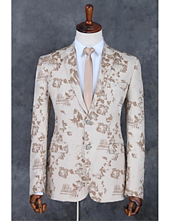 cheap Suits-Champagne Pattern Standard Fit Polyester Suit - Notch Single Breasted Two-buttons