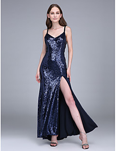 Sheath / Column Spaghetti Straps Ankle Length Sequined Bridesmaid Dress with Split Front by LAN TING BRIDE®