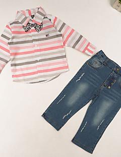 tanie Odzież dla chłopców-Komplet odzieży Bawełna Dla chłopców Codzienny Prążki Wiosna Lato Jesień Długi rękaw Kreskówka Różowy