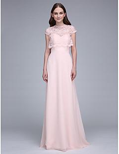baratos Vestidos Conversíveis-Tubinho Decote Princesa Cauda Escova Chiffon Vestido de Madrinha com Renda de LAN TING BRIDE® / Vestido Convertível