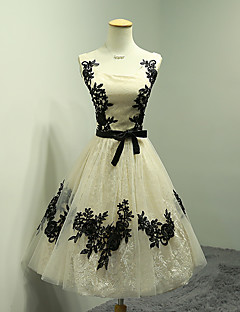 A-Line Square Neck Tea Length Lace Tulle Cocktail Party Dress with Appliques Bow(s) Lace Sash / Ribbon by DRRS