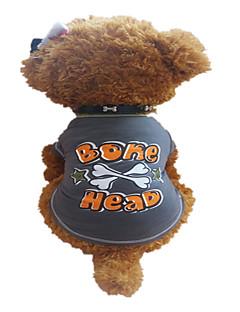 billiga Hundkläder-Hund T-shirt Hundkläder Bokstav & Nummer Stjärnor Mörkgrå Cotton Kostym För husdjur