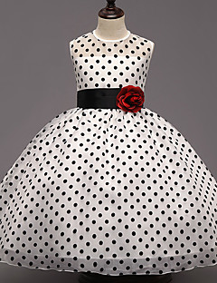 Girl's Party/Cocktail Polka Dot Dress,Polyester Summer White