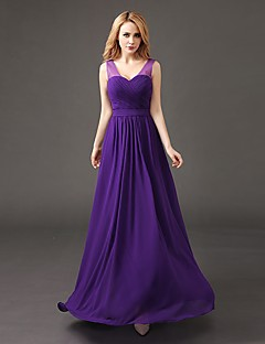 A-Line V-neck Floor Length Chiffon Bridesmaid Dress with Pleats by Luoge