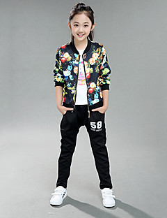 Girl's Cotton Spring/Autumn Flowers Pattern Coat Jacket Pants Two-piece Set