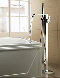 billige Foss-Moderne Art Deco/Retro Badekar Og Dusj Foss Træk-udsprøjte Utbredt Hånddusj Inkludert Gulvstående Keramisk Ventil To Huller To Håndtak to