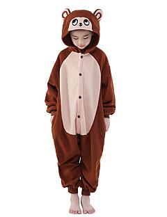 Kigurumi Pyjamas Apina Kokopuku Yöpuvut Asu Polar Fleece Ruskea Cosplay varten Lapset Animal Sleepwear Sarjakuva Halloween Festivaali /