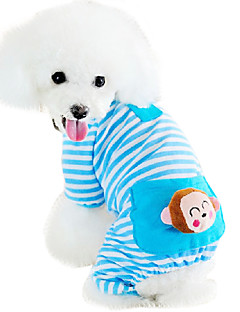 Cat Dog Clothes/Jumpsuit Pajamas Dog Clothes Cute Casual/Daily Cartoon Yellow Blue Pink