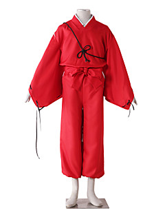 cheap Anime Cosplay-Inspired by InuYasha Kiba Inuzuka Anime Cosplay Costumes Cosplay Suits Solid Long Sleeves Pants Belt More Accessories Kimono Coat For