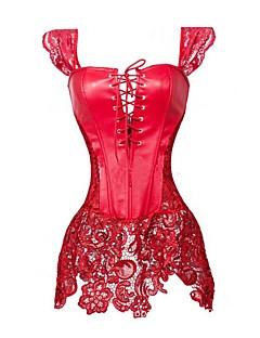 billige Moteundertøy-kvinners glidelås korsett kjoler-lappeteppe, kuttet ut