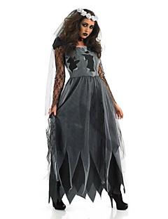 billige Voksenkostymer-Spøkelse Zombie Cosplay Kostumer Party-kostyme Dame Halloween Karneval Oktoberfest Festival / høytid Halloween-kostymer Drakter Svart+Grå Vintage
