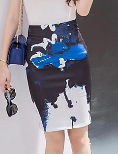 レディース ストリートファッション ボディコン お出かけ 膝上 スカート スリット プリント 夏