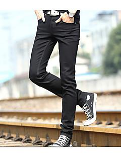 billige Herrebukser og -shorts-Herre Fritid Mikroelastisk Jeans Bukser, Mellomhøyt liv Bomull Ensfarget Alle årstider