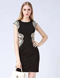 Χαμηλού Κόστους Γυναικεία Φορέματα-klimeda απλό εφαρμοστό φόρεμα εκτύπωσης των γυναικών, γύρω από το λαιμό μίνι πολυεστέρα
