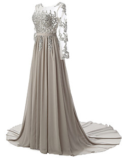 cheap Special Occasion Dresses-A-Line Illusion Neckline Court Train Chiffon Lace Over Tulle Formal Evening Dress with Beading Appliques by LAN TING Express
