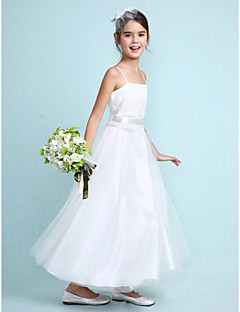 tanie Sukienki dla dziewczynek z kwiatami-Krój A Do kostki Sukienka dla dziewczynki z kwiatami - Tiul Bez rękawów Cienkie ramiączka z Koronka przez LAN TING BRIDE®