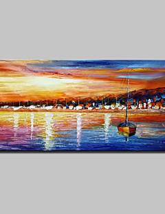 tanie Pejzaże abstrakcyjne-Ręcznie malowane Krajobraz Poziomy, Nowoczesny Brezentowy Hang-Malowane obraz olejny Dekoracja domowa Jeden panel