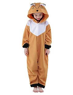 Kigurumi Pyjamas Kettu Kokopuku Yöpuvut Asu Polar Fleece Ruskea Cosplay varten Lapset Animal Sleepwear Sarjakuva Halloween Festivaali /