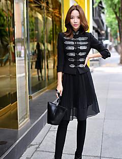 Damen Solide Vintage Chinoiserie Anspruchsvoll Ausgehen Lässig/Alltäglich Party/Cocktail Blazer,Ständer Frühling Herbst Langarm Standard