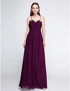 cheap Purple Passion-Sheath / Column Spaghetti Straps Floor Length Chiffon Bridesmaid Dress with Beading Criss Cross by LAN TING BRIDE®