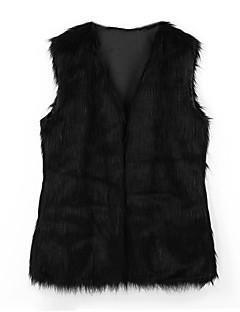 Χαμηλού Κόστους -Γυναικεία Μεγάλα Μεγέθη Γούνινο παλτό Δουλειά Βασικό - Μονόχρωμο Λαιμόκοψη V