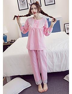 billige Moteundertøy-Dame Bomull Pyjamas - Helfarge, Trykt mønster