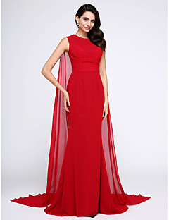 cheap Special Occasion Dresses-Mermaid / Trumpet Jewel Neck Watteau Train Chiffon Formal Evening Dress with Ruched by TS Couture®