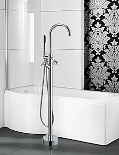 Moderne Art Deco/Retro Badekar Og Dusj Foss Wide spary Hånddusj Inkludert Gulvstående Træk-udsprøjte with  Keramisk VentilTo Håndtak to
