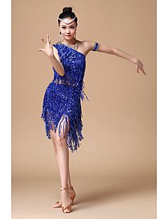 Latein-Tanz Austattungen Damen Vorstellung Baumwolle Polyester Pailletten 2 Stück Ärmellos Normal Top Rock