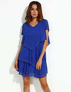 billige Plus Størrelser-Dame-Dame Plusstørrelser Løstsiddende Skater Kjole - Ensfarvet, Lag-på-lag Over knæet V-hals Blå