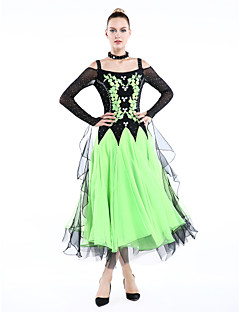 cheap New Arrivals-Ballroom Dance Outfits Women's Performance Polyester Spandex Crystals / Rhinestones Long Sleeves Dress Bracelets Neckwear