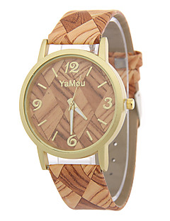 Women's Fashion Watch Wood Watch / Quartz Leather Band Casual Multi-Colored Strap Watch