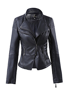 cheap Women's Blazers & Jackets-Women's Leather Jacket - Solid Colored V Neck