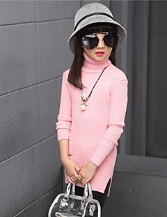 billige Sweaters og cardigans til piger-Pigens Kjole Daglig Ensfarvet, Bomuld Polyester Forår Efterår Alle årstider Langærmet Blonde Hvid Rød Lys pink